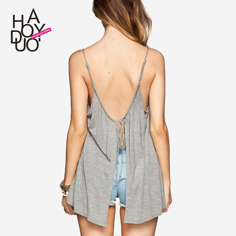 Haoduoyi Street, Europe and the United States back split tie dew shoulder suspension bandwidth slack fold sleeveless vest woman