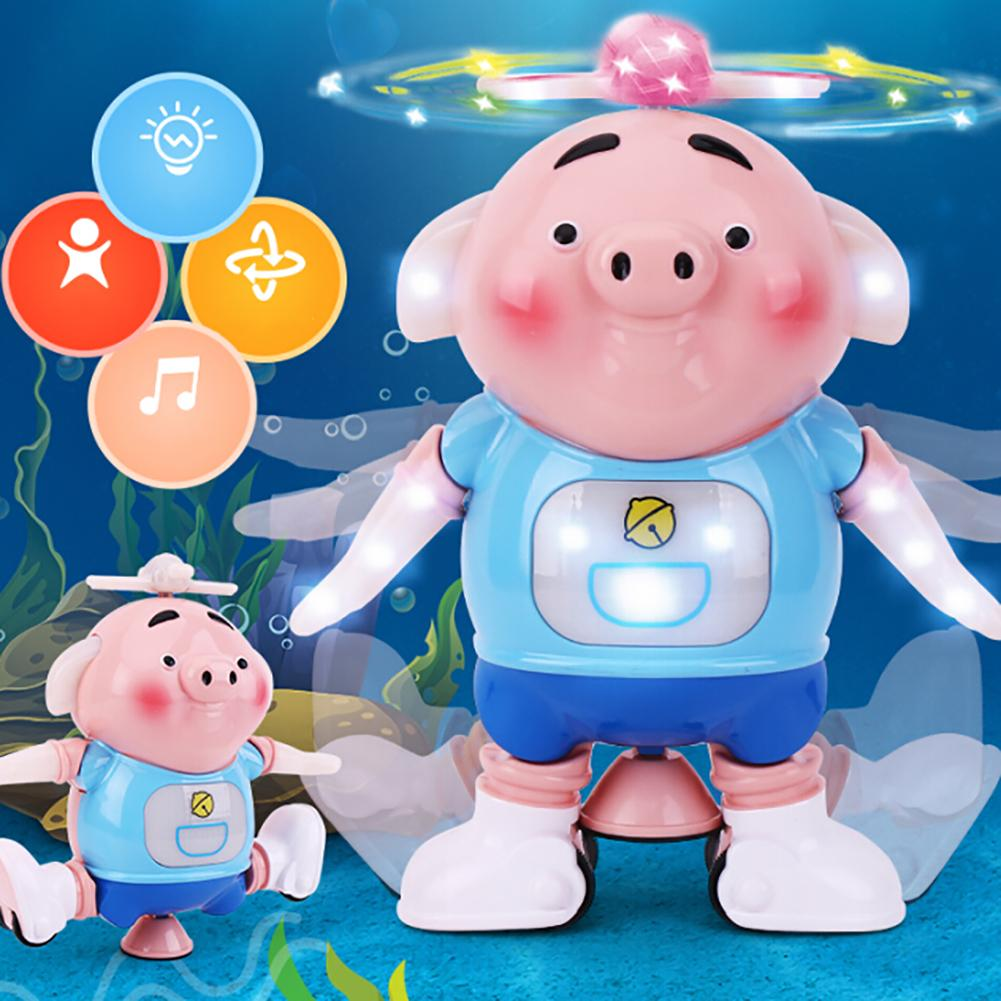 Electric Piglet Pig Dancing Rotating Robot Musical Flashing Intelligent Kids Toy Gift For Children