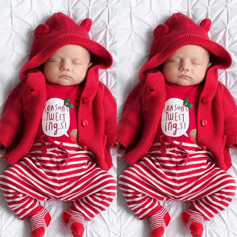 3pcs christmas baby set red striped newborn baby girl boy romper striped pants leggings headwear outfits set costume in clothing sets from mother kids