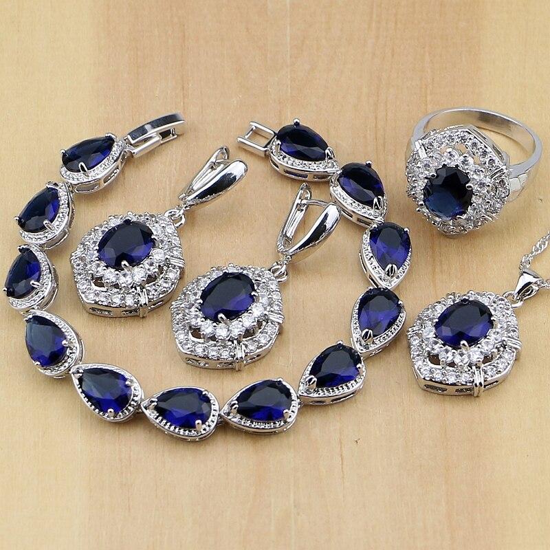 Women/'s Silver Blue Zircon Coeur Collier Pendentif Boucles D/'oreilles Bijoux Set