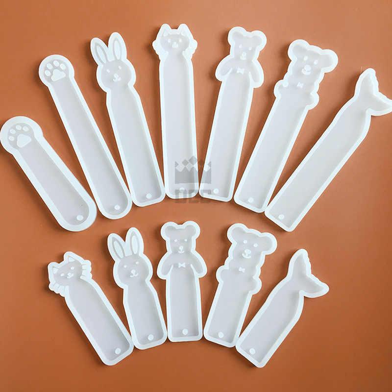1 pc Kelinci Kucing Beruang Bookmark berbentuk Silicone Mold untuk UV resin Epoxy Resin untuk Perhiasan buatan tangan