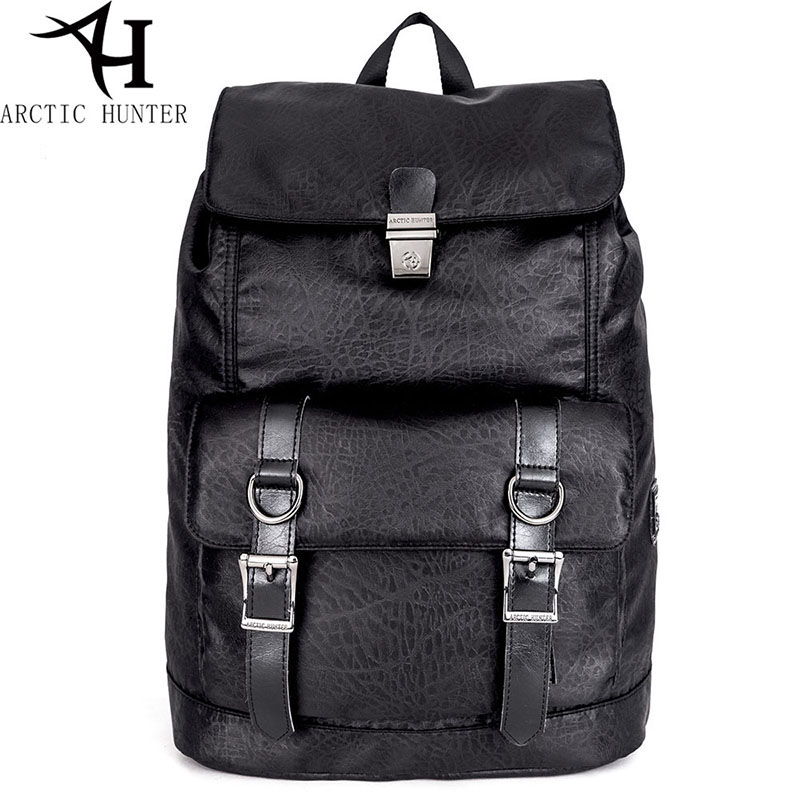 ARCTIC HUNTER 15.6 Inch Laptop Backpacks Male Anti-theft Pu Leather Buckle Backpack Men MochilasVintage Street Style Casual Bag arctic hunter design backpacks men 15 6inch laptop anti theft backpack waterproof bag casual business travel school back pack