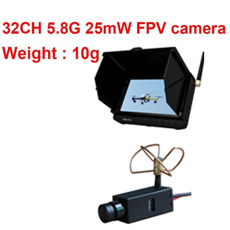 25mW 5.8G 32CH wireless FPV camera drone camera 7g wireless CCTV camera + FPV receiver DVR 5.8G wireless receiver monitor