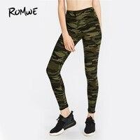 ROMWE Verde Camo Ativo Impressão Legging Magro Ocasional de Fitness Calças 2017 Mulheres Da Moda de Cintura Alta Leggings de Comprimento No Tornozelo