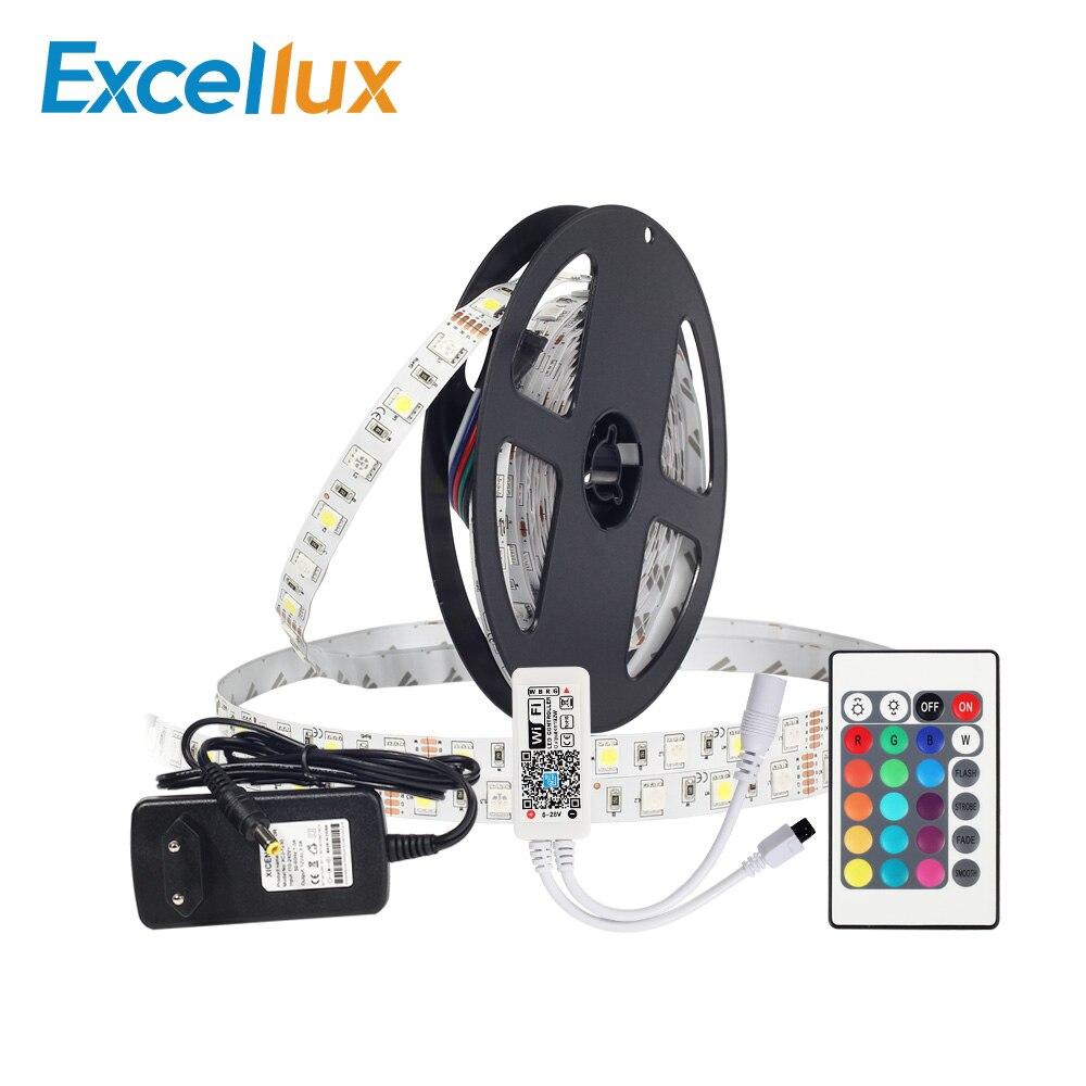 SET RGBW IP20/IP65 waterproof led strip 5m/roll 300leds 220V to 12V 3A EU/US plug power supply +24KEY MINI WIFI RGBW LED control