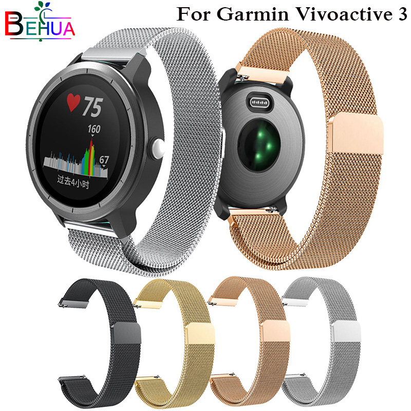 20MM Watchband for Garmin Vivoactive 3 Stainless Steel Milanese Loop Strap For Xiaomi Huami Youth band For Samsung Gear Sport20MM Watchband for Garmin Vivoactive 3 Stainless Steel Milanese Loop Strap For Xiaomi Huami Youth band For Samsung Gear Sport