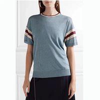 Women Blue Short Sleeve Sweet Knit T shirt Top