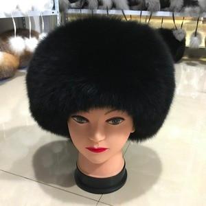 Image 5 - Fashion New Style Luxury Winter Russian Natural Real Fox Fur Hat 2020 Women Warm Good Quality 100% Genuine Real Fox Fur Cap