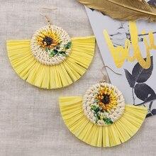 Sunflower Tassel Earrings for Women Natural Vine Wicker Rattan Earring Multi Colors Raffia Pendientes Rafia Party Gifts