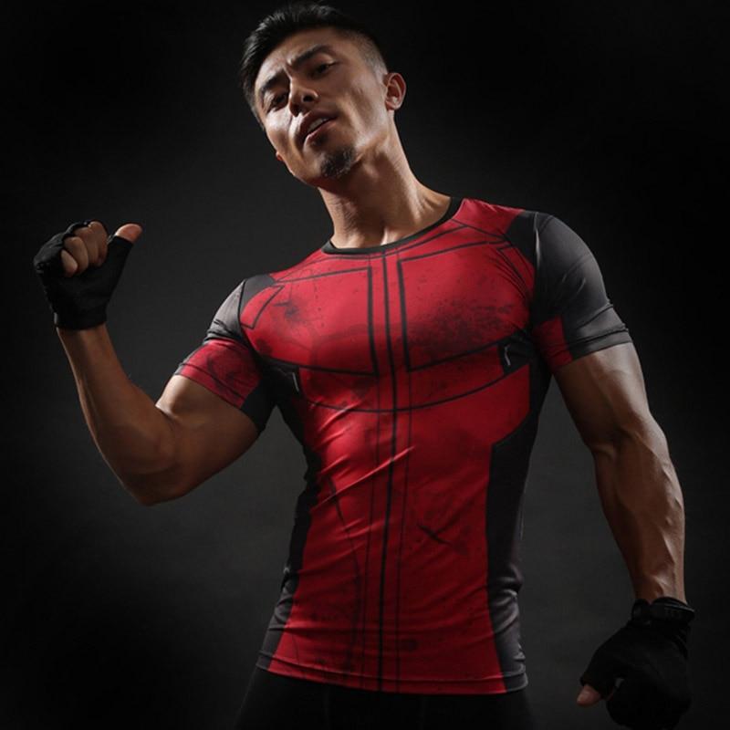 EHUANHOOD 3D Printed T Shirt Men Compression Shirt Deadpool Short Sleeve Camisetas Homens Fitness Men Crossfit T- shirt Tee