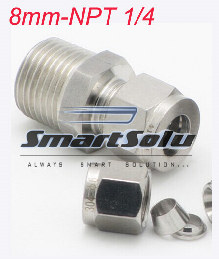 Free Shipping 2pcs Lots 8mm Npt1 4 Thread Stainless Steel