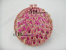 Pink BALL Crystal in Metal Wedding Bridal Party Night hollow Evening purse clutch bag handbag