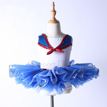 Girls Navy Style Professional Ballet Tutu Dress Kids Ballet Dance Costume C100 фото