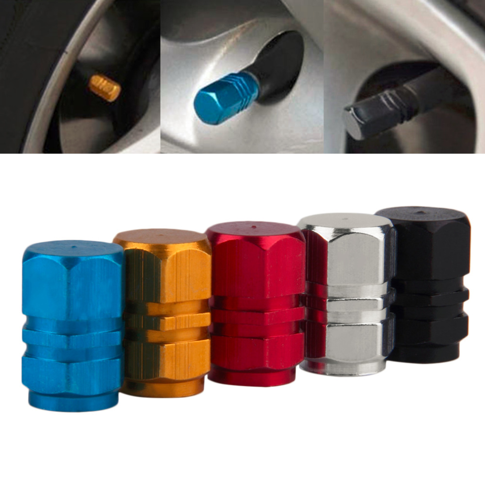 Universal 4Pcs/set Auto Bicycle Car Tire Valve Caps Aluminum Tyre Wheel Hexagonal Ventile Air Stems Cover Airtight Rims 5 Colors