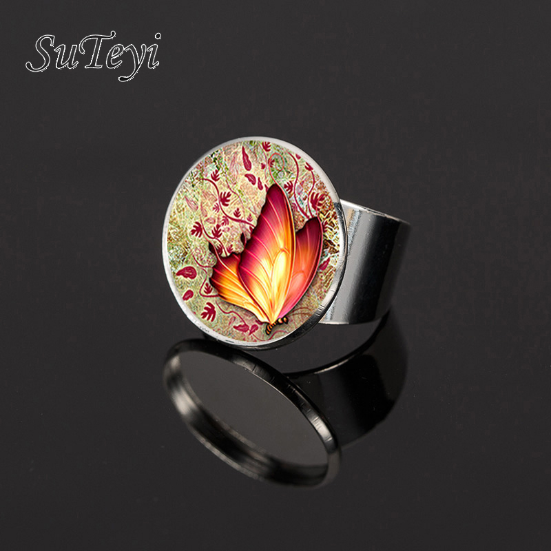 SUTEYI 2017 Ornaments Wholesale Multicolor Non Silver Silver Rings Beautiful Butterfly For Women Charm Ring Womens Party Gifts