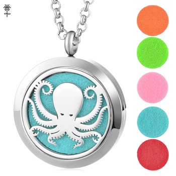 Aromatherapy Essential Oils Perfume Diffuser Locket Necklace Pendant Octopus Pattern with 5 Easy -Switch Oil Pads VA-812 image