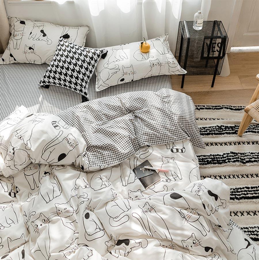 Cartoon Lovely Cat Bedding Set Adult Teen Child Kid,full Queen Cotton Cute Double Home Textile Bed Sheet Pillow Case Duvet Cover