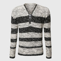 Men Unique Zipper Sweater V Neck Cable Knit Sweater Long Sleeve Striped Pullover Warm Grey Black
