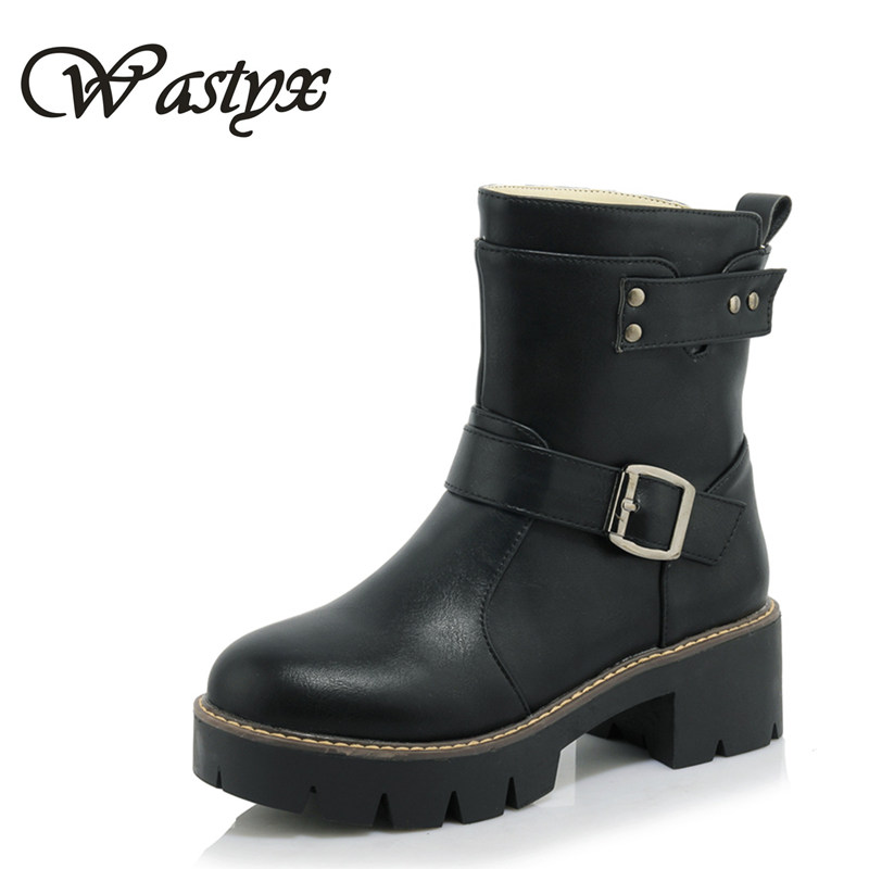 Wastyx new ankle boots fashion round toe hoof heels women boots high heels shoes woman platform winter warm boots big size 34-43 big size 34 42 high quality genuine leather leisure low heels ankle boots fashion cowhide round toe platform women boots