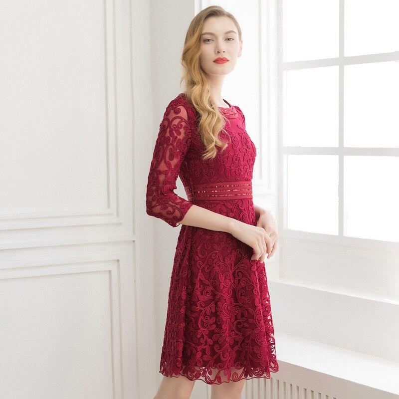 Élégant Broderie Sexy Supérieure Paillettes Bureau bourgogne Xxxl Plus De La Robe Qualité Robes Vintage Nouvelles 2019 Rose D'été Femmes Dames Taille TrOEzqBxTw