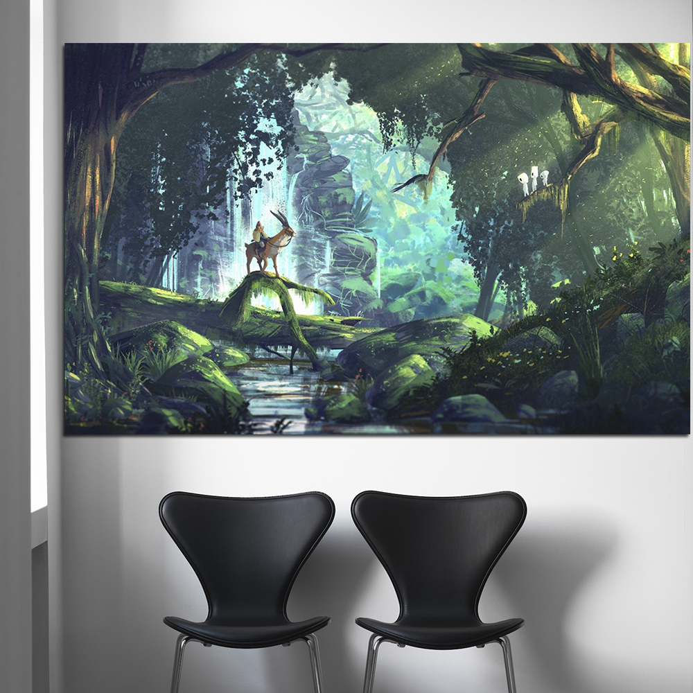 Hayao Miyazaki Princess Mononoke Anime Movie Art Canvas Posters and Prints Home Decor Wall Pictures For Living Room Bedroom 1