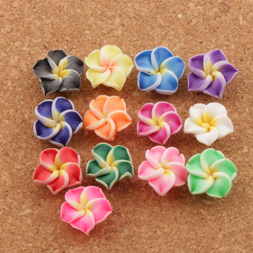 15Pcs Mixed Handmade Polymer Fimo Clay Flower Spacer Beads Charms 12mm