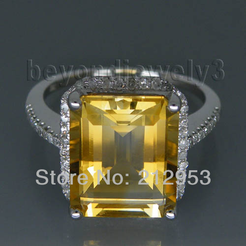 Vintage Emerald Cut 10x12mm Yellow Natural Citrine Diamond Engagement Ring, 14k White Gold Genuine Gemstone Ring For Sale<
