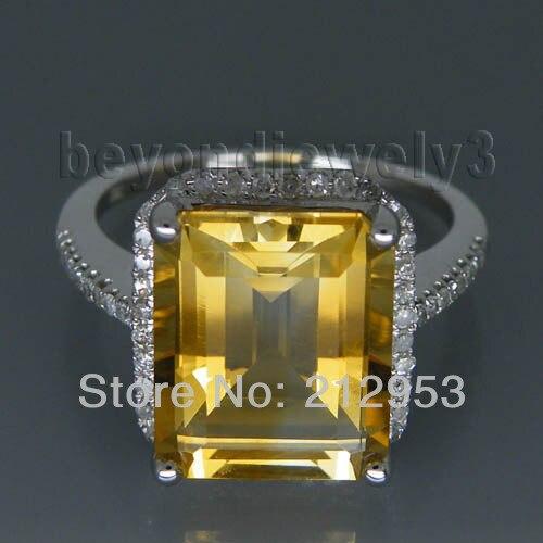 Femmes jaune Citrine cristal Taille Émeraude 18K or blanc rempli Bague de fiançailles