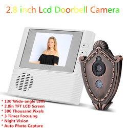 2018 2.8 inch Lcd Doorbell Camera Wired Digital Door Viewer Vedio Peephole Eye Home Security Camera Doorbell Cam Shield Shape