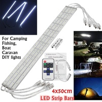 Waterproof Wireless 4 PCS 50cm Led Bar Light 12V DC 5630 SMD Cool White Remote Outdoor 9W Strip Lamp For Home Camping Boat Car