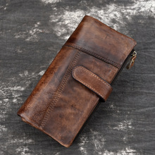 Vintage Men Wallet Clutch Genuine Leather Brand Rfid Wallet Male Organizer Cell