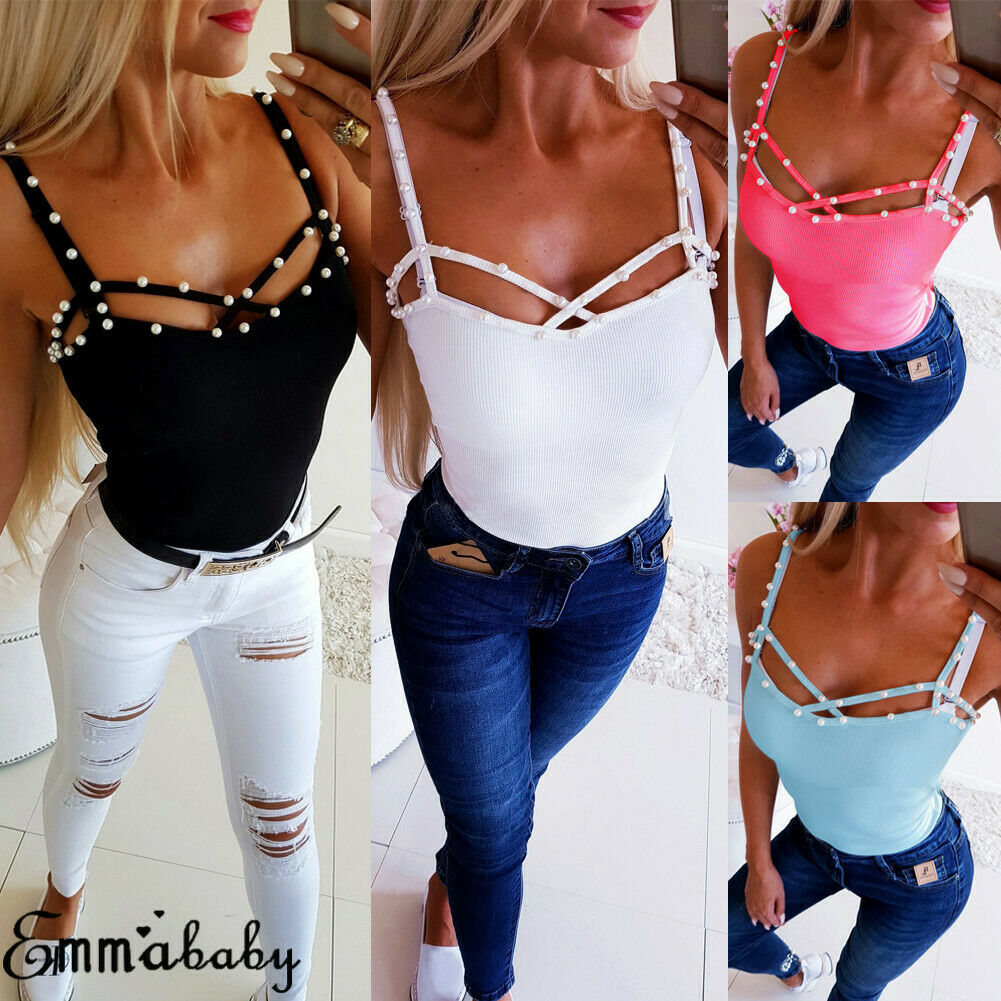 2019 Newest Beading   Top   Mode Frauen Sommer Perle Sleeveless Weste   Tops   Sexy Lässige Sleeveless   Tank     Top   Casual Bead V-neck Vest