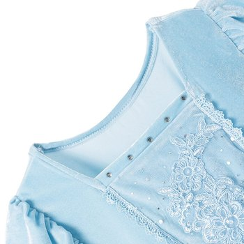 Girls Cinderella Dress up Cosplay Costumes Kids Puff Sleeve Embroidery Blue Clothes Child Christmas Birthday Princess 4