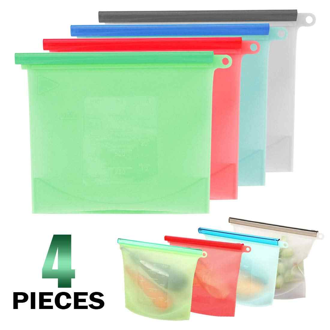 Reusable Silicone Food Storage Bags for Kitchen Vacuum Silicone Food Storage Bags Sealing Fresh Bag for Kitchen (set of 2&4)