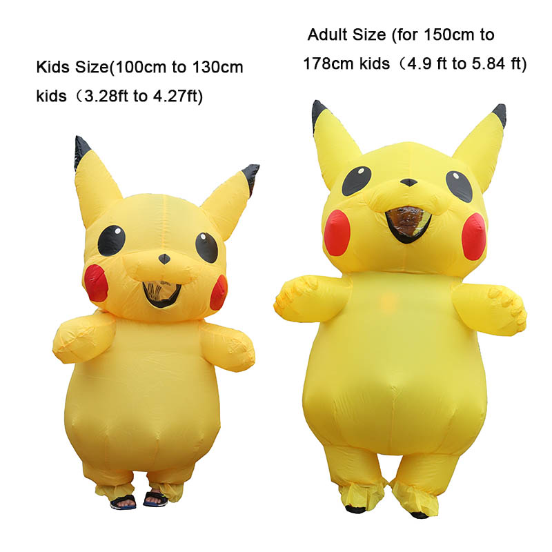 Inflatable Pikachu Costumes Halloween Cosplay Carnival Pokemon Mascot Costume Halloween Costumes for Kids Adults Mascot