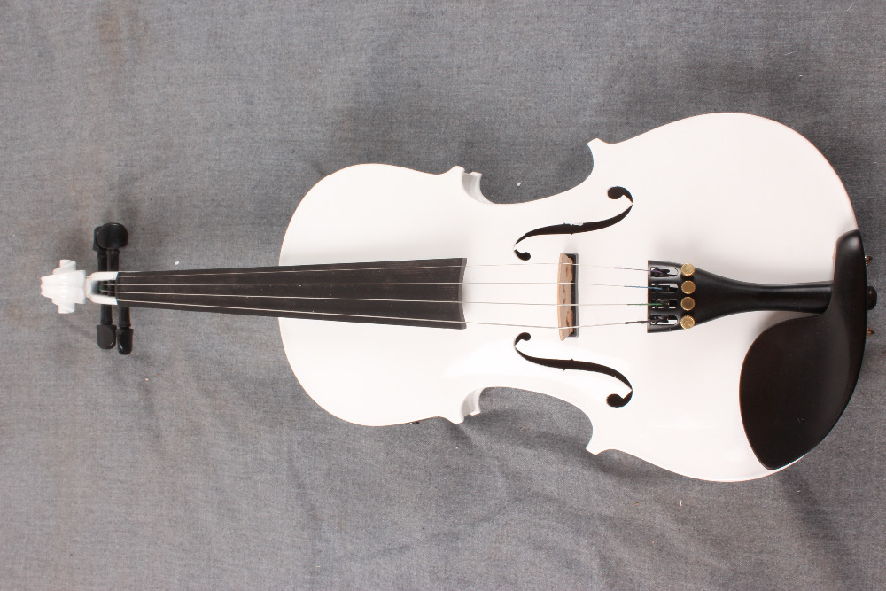 new 4-String white  4/4  Electric Acoustic Violin   color   #1-2511#  what color do you like? handmade new solid maple wood brown acoustic violin violino 4 4 electric violin case bow included