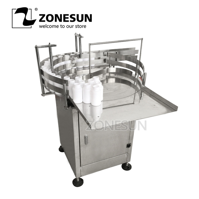 ZONESUN Automatic Round Rotary Plastic Glass Bottle Unscrambler Glass Bottle Sorting Turntable Feeding Table