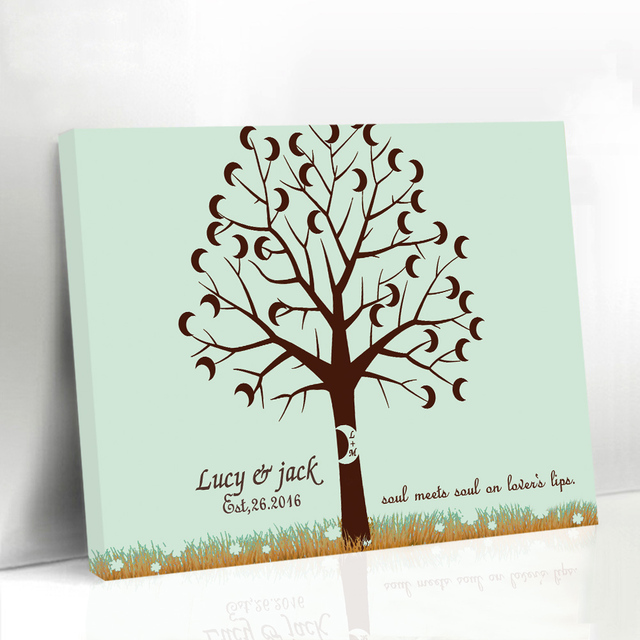 Custom Names Wedding Fingerprint Tree Baby Shower Moon Tree Baby Guest Book  Framed Wedding Guestbook Rustic