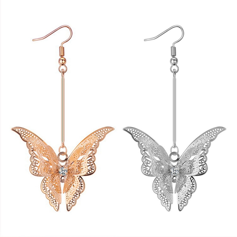 Fashion Jewelry Metal Hollow Animal Butterfly Earrings Romantic Earrings For Women Jewelry For Girls