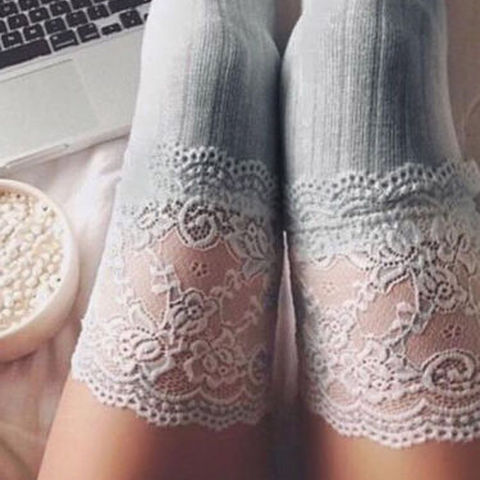 New Fashion 3 Colors Striped Thigh High Stockings Women Lace Sexy Cotton Stocking Autumn spring  Knee Socks Over The Knee Karachi