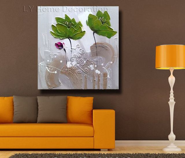 Hand-painted modern home decor wall art picture green lotus leaf thick paint palette knife & Hand painted modern home decor wall art picture green lotus leaf ...