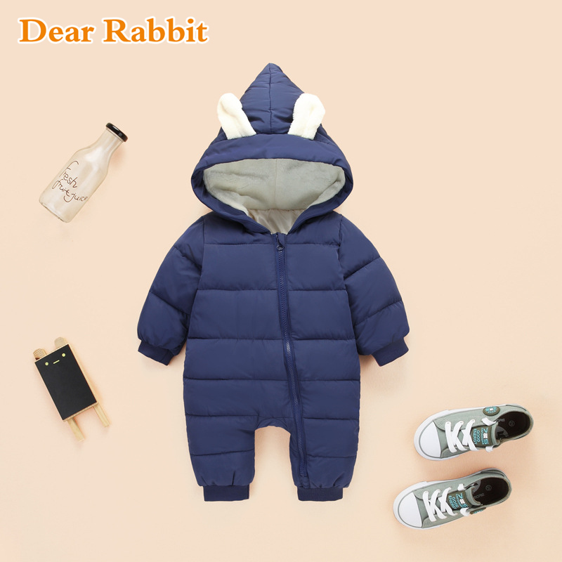 2017 New autumn Winter Jumpsuit Baby Newborn snowsuit Fotografia Boy Warm Romper 100% down Cotton Girl clothes Bodysuit 0-2Y