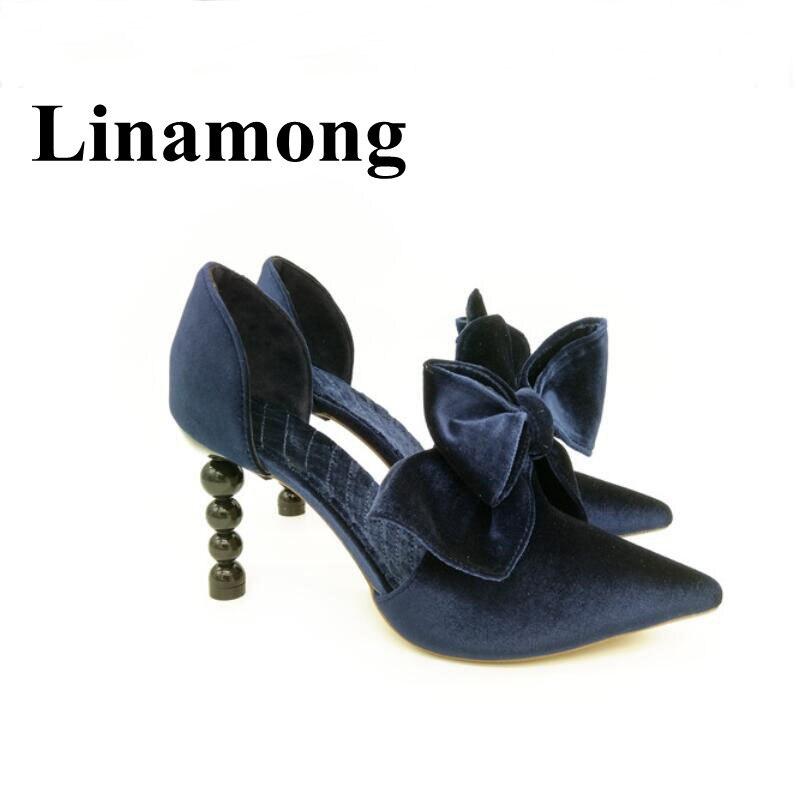 knot Flacher Schuhe Pearl Dekoration High Herde Hottest Mode Fr Heel Spitz Schmetterling Europa Yf6y7bg