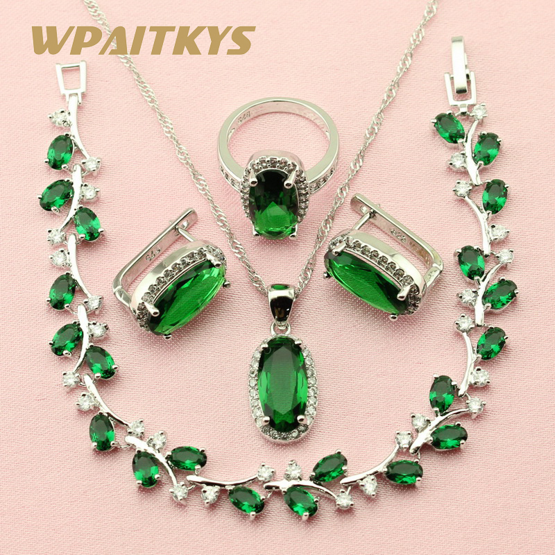 Exquisite Green Cubic Zirconia 925 Silver Jewelry Sets For Women Wedding Earrings Chain Bracelet Necklace Pendant Ring Free Box a suit of gorgeous rhinestoned flower necklace bracelet earrings and ring for women