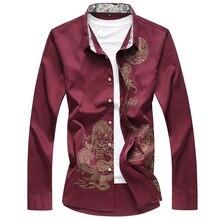 Hot Stamping Casual Long Sleeve Shirt Men 2019 Spring Autumn Floral Shirt Fashion Button Down Dress Shirt Men Plus Size 6XL 7XL