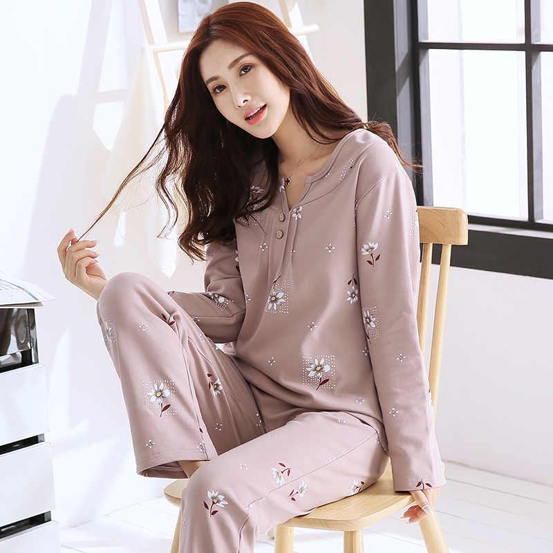 f9ed8a43e1 Spring Autumn Soft Cotton Pajamas Set Women Nightgown Flower Print V-Neck Loose  Large Size