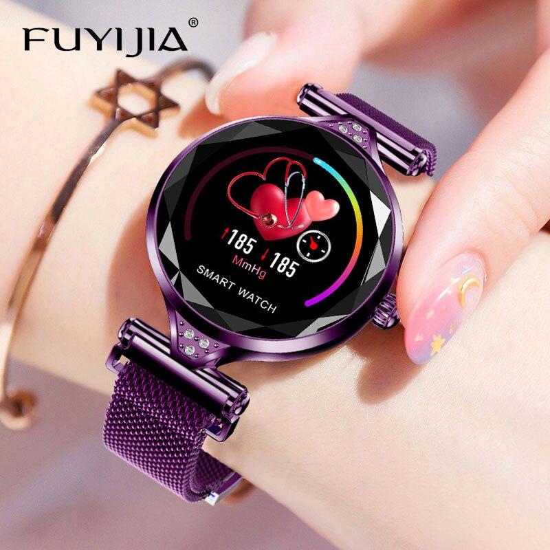 FUYIJIA 2019 Nouvelle montres de mode Femme Sport montre connectée Dames 1.04 Pouces IPS HD Écran Couleur montre féminine Top Marque Or Horloge