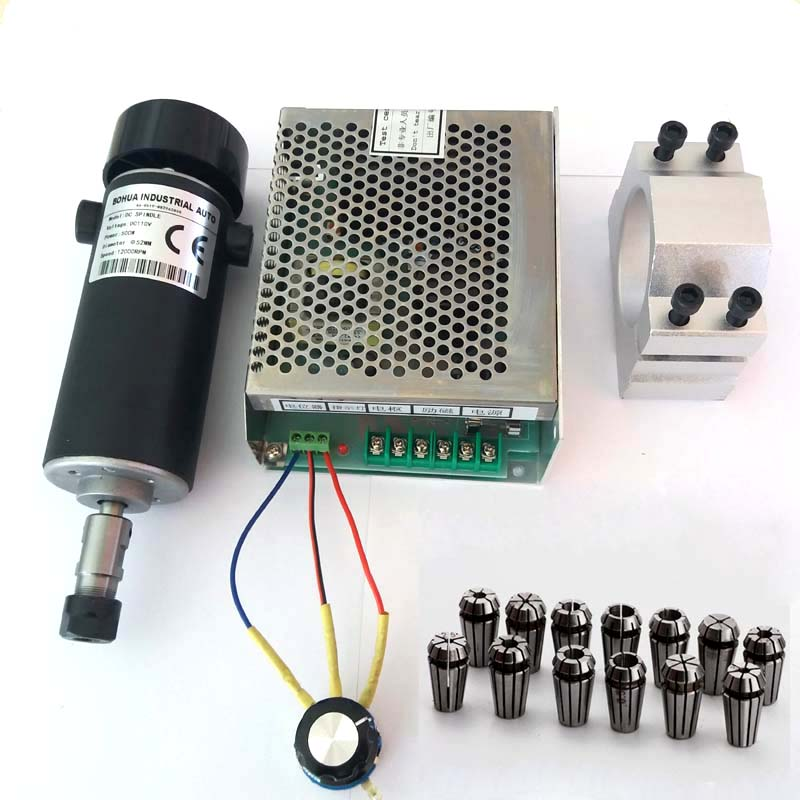 cnc spindle 500W air cooled 0.5kw milling Motor & spindle speed power converter &52mm clamp &13pcs er11 collet for DIY engravingcnc spindle 500W air cooled 0.5kw milling Motor & spindle speed power converter &52mm clamp &13pcs er11 collet for DIY engraving