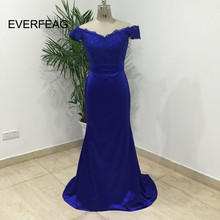 Sexy Lace Royal Blue Bridesmaid Dresses 2018 Mermaid Long Champagne Wedding Party Dress Formal Maid Of Honor(China)