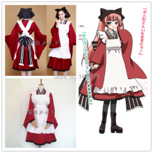 Free Shipping Gugure! Kokkuri-san Tama Cosplay Costume Uniform Clothes Lolita Anime Maid Dress+Apron+Bowknot+Collar+Hairdress tama cm8p